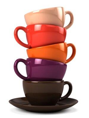 Наклейка Стек чашки кофе, изолированных на белом