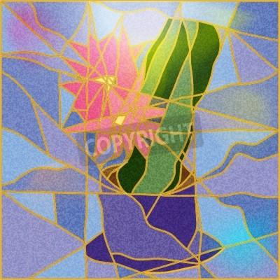 Наклейка Витраж с изображением цветов иллюстрацию