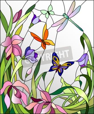 Наклейка Витраж с цветами и бабочками