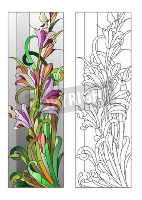 Наклейка Витраж с фиолетовым цветочным узором