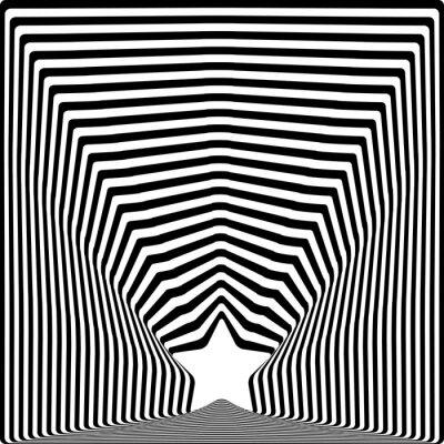 Наклейка Звездные черные полосы оптическая иллюзия визуальное искусство эффект.