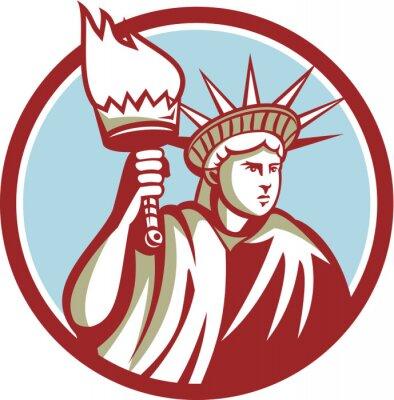 Наклейка Статуя Свободы Холдинг факелом Circle Retro