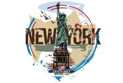 Наклейка Статуя свободы, Нью-Йорк / США. Городской дизайн. Рисованной иллюстрации.