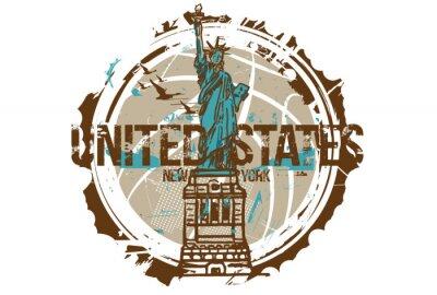 Наклейка Статуя свободы, Нью-Йорк / США. Городской дизайн. Рисованной иллюстрации