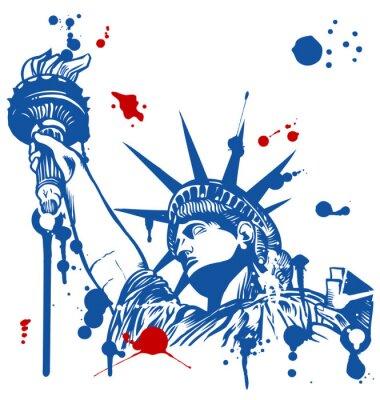 Наклейка Статуя Свободы с факелом с чернилами капель