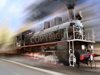 Наклейка паровой двигатель, локомотив в движении размытия