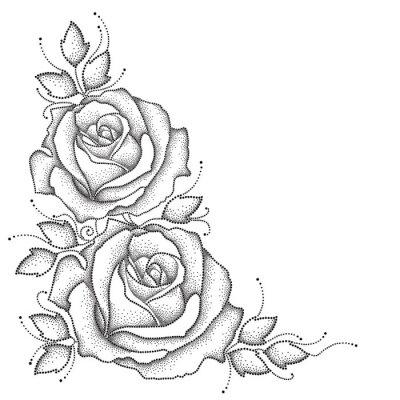 Наклейка Стебель с пунктир цветок розы и листья на белом фоне. Цветочные элементы в стиле dotwork.