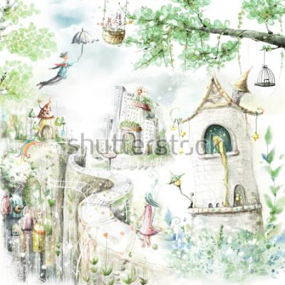 Наклейка волшебные лесные тропы и сказочные персонажи