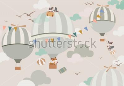 Наклейка воздушные шары в небе