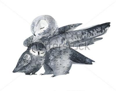 Наклейка Сова и техника с акварелью. Лесные животные. Ручная роспись реалистичные иллюстрации, доступные на белом фоне. День матери карты ручной работы.