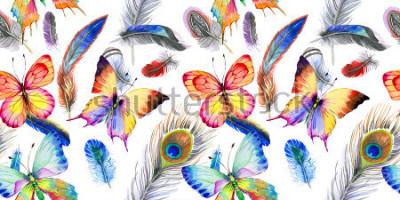 Наклейка Акварельная птица с рисунком из крыла. Акварель дикий цветок для фона, текстуры, оболочки шаблон, рамки или границы.