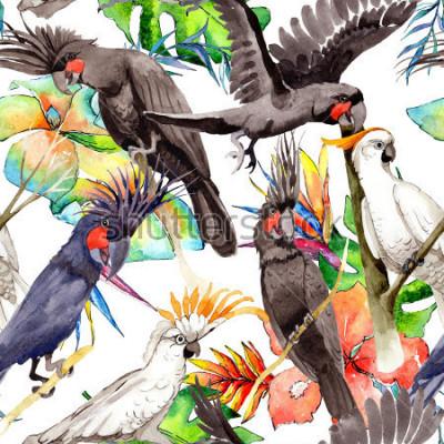 Наклейка Попугай узор в дикой природе по акварелью. Дикая свобода, птица с летающими крыльями. Aquarelle птицы для фона, текстуры, картины, рамки, границы или татуировки.