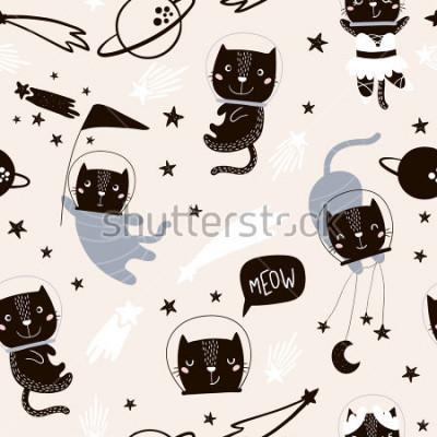 Наклейка Бесшовный детский рисунок с симпатичными кошками астронавтов. Творческий фон питомника. Идеально подходит для дизайна детей, ткани, обертывания, обоев, текстиля, одежды