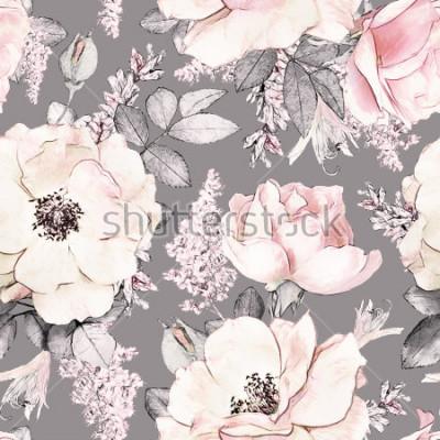 Наклейка Акварель цветочным узором, цветная роза в пастельных тонах, карта для обоев, карты или ткани