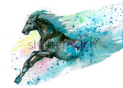 Наклейка Акварель иллюстрации лошади. Нарисованный от руки