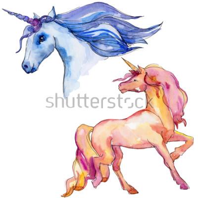 Наклейка Симпатичная лошадь единорога. Сказочные дети сладкой мечты. Радужный персонаж рога. Изолированные элемент иллюстрации. Акварель дикое животное для фона, текстуры, обертки или татуировки.