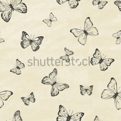 Наклейка Набор рисованных бабочек. Энтомологический сбор высокодетализированных бабочек. Ретро винтажный стиль. Бесшовный узор. Векторные иллюстрации.