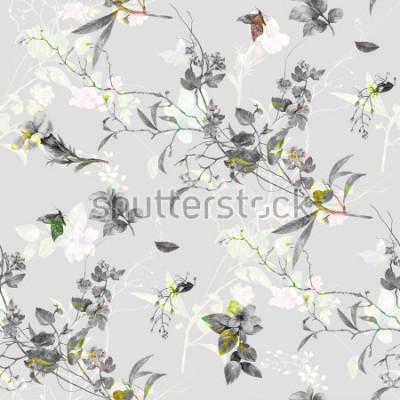 Наклейка Акварельная живопись листьев и цветов, бесшовные модели на белом фоне