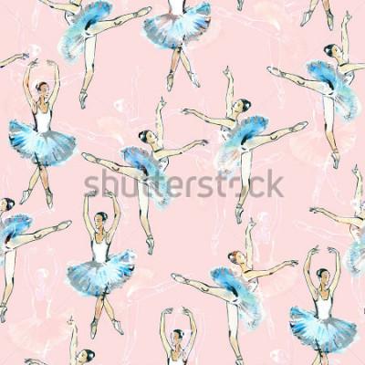 Наклейка Бесшовные шаблон балерины, черный, белый и серебро рисунок, акварель, имеются на розовом фоне.