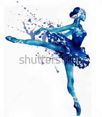 Наклейка Танцевальная балерина в синем.