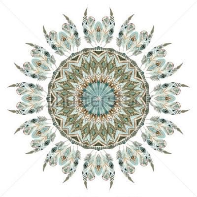 Наклейка Акварель этнических перьев абстрактная мандала. Кружева шаблон с богато украшенными перьями с геометрическими элементами, выделенными на белом фоне. Ручная роспись иллюстрации для бохо, племенной диза