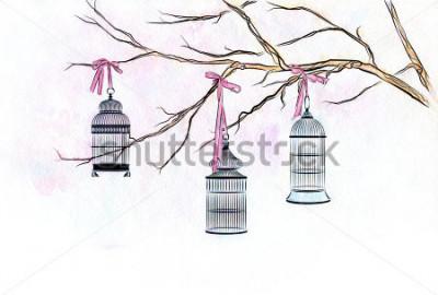 Наклейка Рука с акварелью три клетки птицы на ветвях дерева с розовыми лентами.
