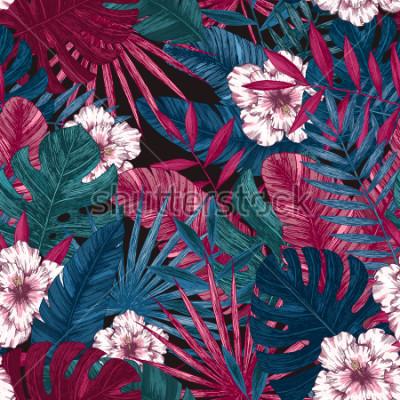 Наклейка Экзотические листья и цветы бесшовные модели. Тропический цветочный фон. Векторные иллюстрации