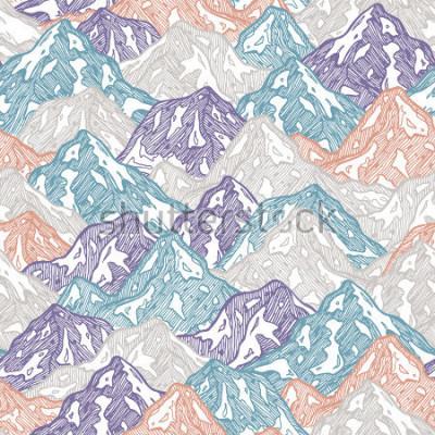 Наклейка Горы бесшовные модели. Веселье горы ребенка иллюстрации. Векторные иллюстрации