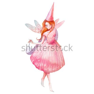 Наклейка Акварель фея иллюстрации. Ручная роспись сказочного характера, доступны на белом фоне. Мультяшная девушка с крыльями