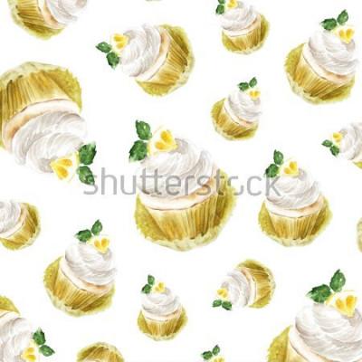 Наклейка Акварель, иллюстрация, кекс, десерт. художественная печать, эскиз моды. пекарня сладкий торт фрукты цитрусовые.pattern