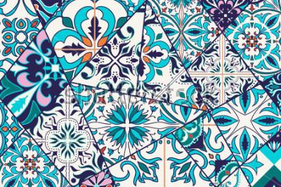 Наклейка Векторный декоративный фон. Мозаичный узор пэчворка для дизайна и моды. Португальская плитка, Azulejo, марокканские орнаменты