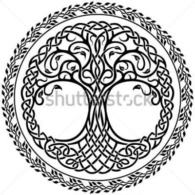 Наклейка Кельтское дерево жизни с цветочным кругом граница