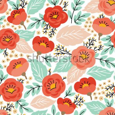 Наклейка Элегантный бесшовный фон с цветами. Текстурная поверхность, фоновые рисунки, веб-страницы, текстиля и многогранные