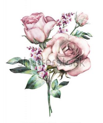 Наклейка акварельные цветы. цветочные иллюстрации, цветок в пастельных тонах, розовая роза. ветка цветов на белом фоне. Лист и почки. Симпатичная композиция для свадьбы или поздравительной открытки. букет