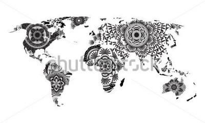 Наклейка Мандала карта мира вектор