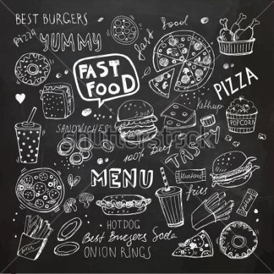 Наклейка Болваны быстрого питания. Ручной обращается векторные символы и объекты