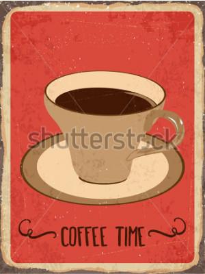 Наклейка Ретро металлический знак «Время кофе», векторный формат eps10
