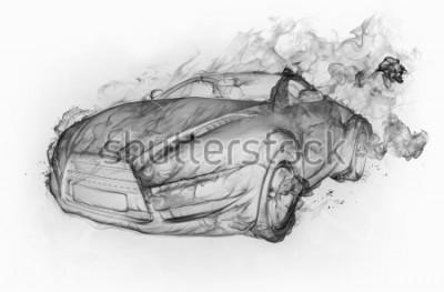 Наклейка Автомобиль изолирован на белой стене. Оригинальный дизайн автомобиля.