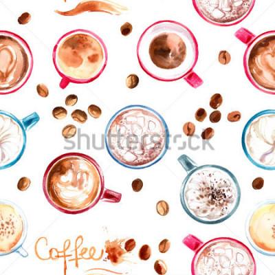 Наклейка Узор кофе Кубок окрашены акварелью на белом фоне. Напиток и сладости. Абстрактная акварель пятна, следы кофе.