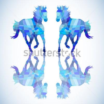 Наклейка Синий абстрактный конь геометрических фигур