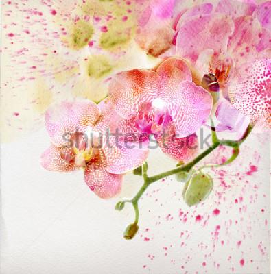 Наклейка Акварельная живопись, цветочный фон