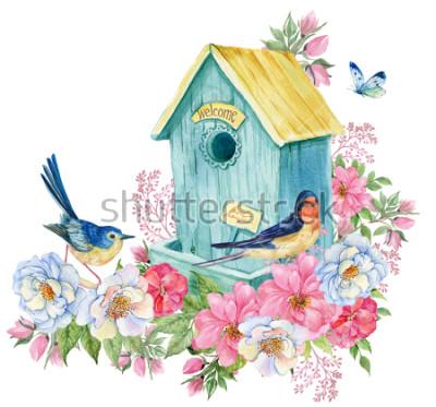Наклейка Дом птицы, ласточка и голубая птица, бабочка. Весенняя открытка Акварельные иллюстрации