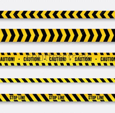 Наклейка Опасность и полицейская линия. Желтая лента Векторная иллюстрация