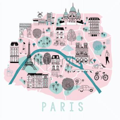 Наклейка Мультфильм карта Парижа с легендой иконы. Полиграфический дизайн