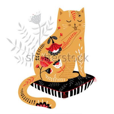 Наклейка милый кот нарисованный рукой