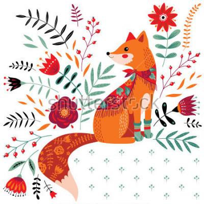 Наклейка рисованная иллюстрация лиса