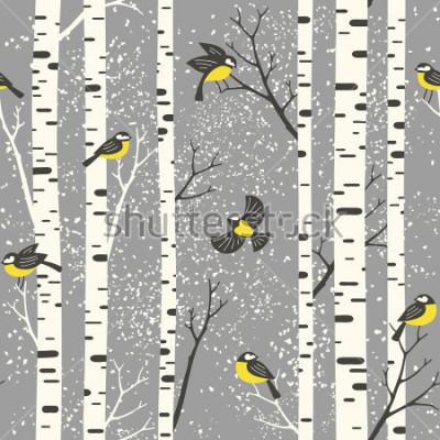 Наклейка Снежные березы и птицы на заднем фоне. Бесшовные векторные шаблоны Идеально подходит для дизайна ткани, обоев, подарочной упаковки или открытки.