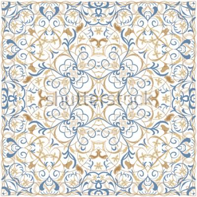 Наклейка Яркий цветной рисунок в восточном стиле. Квадратный орнамент для платков, шарфов или подушек. Может использоваться для печати на ткани или бумаге. Векторная иллюстрация