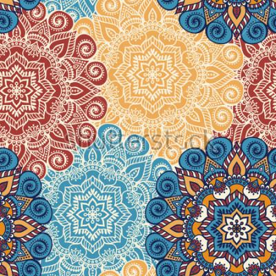 Наклейка Бесшовные шаблон плитки с мандалами. Старинные декоративные элементы. Ручной обращается фон. Исламские, арабские, индийские, османские мотивы. Идеально подходит для печати на ткани или бумаге.
