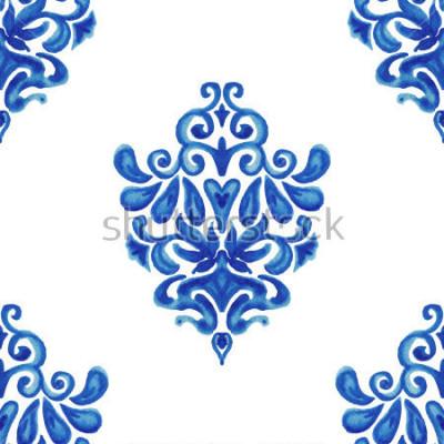 Наклейка Абстрактный бесшовный декоративный акварельный образец плитки для ткани